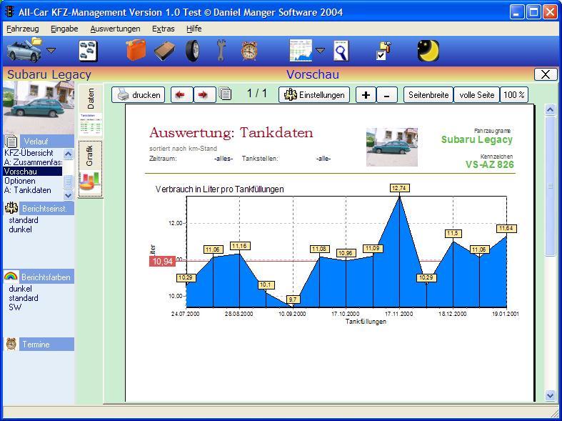 Screenshot vom Programm: All-Car KFZ-Verwaltung